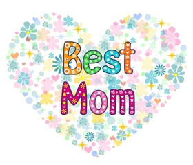 Best Mom- words in floral frame