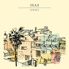 View of Akko, Israel. Residential houses and a palm tree. vintage hand drawn postcard