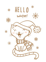 Card with cute cartoon cat  in scarf  and hat. Winter time. Snow day. Little kitten  in clothes. Funny animal. Vector contour image no fill. Children's illustration.
