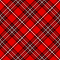 Seamless tartan plaid pattern. Checkered fabric texture print in white & dark red stripes on bright red background.