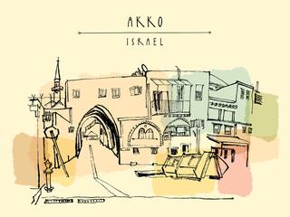 Akko, Israel. Grungy brush ink hand drawing . Vintage travel postcard
