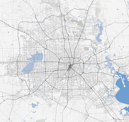 Map Houston city. Texas Roads