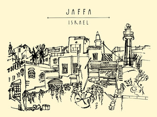 Artistic illustration of Jaffa (Yafo), Tel Aviv, Israel. Lighthouse, houses and trees. Travel sketch. Grungy black ink brush drawing. Postcard or poster