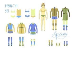 Girls fashion set . Cute dress up doll . Spring season .