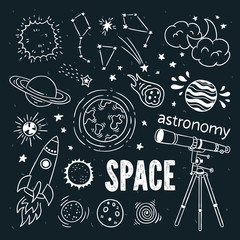 Hand drawn astronomy icons. Space illustrations: planets, stars, space ship, telescope