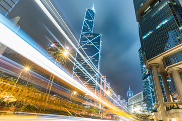 Traffic light trails in downtown of Hong Kong,China.