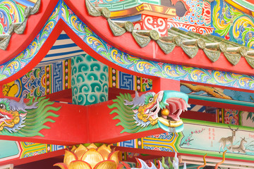 Decoration on roof at chinese temple in Thailand