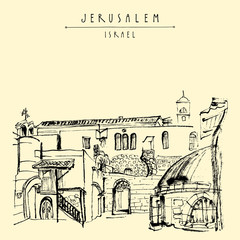 Roofs in Jerusalem, Israel. Travel sketch. Hand drawn touristic postcard, poster, calendar or book illustration. Jerusalem city view postcard