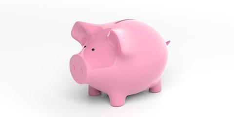 Pink piggy bank on white background. 3d illustration