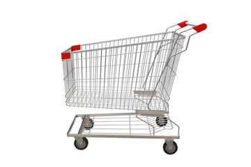 Shopping cart isolated on white background. 3D illustration
