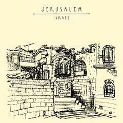 Jerusulaem old town. Hand drawn postcard