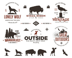 Wild animal badges set and outdoors activity insignias. Retro illustration of  . Typography camping style. Vector   logos with letterpress effect. Custom explorer quotes. Rough