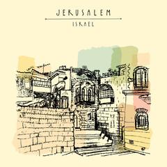 Jerusulaem old town - hand drawn postcard