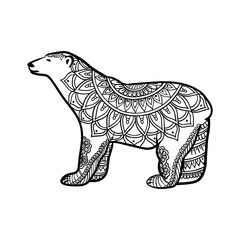 stylized Polar Bear illustration in zentangle doodle style, ethnic ornament, unique hand drawn design for print, clothing, greeting cards, banners, antistress coloring page for adult and other