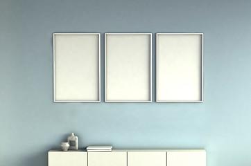 mock up poster frames on light blue wall interior background. 3 pictures composition concept. 3D rendering illustration.