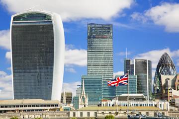 London. City buildings along river Thames.
