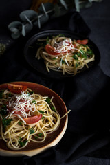 Spaguetti with tomato cheese and oregano