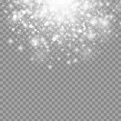 Vector magic white glow light effect isolated on transparent background. Christmas design element. Star burst with sparkles
