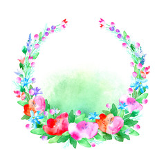 Floral wreath.Garland with poppy flower,bell,berry and herb .Watercolor hand drawn illustration.White background.It can be used for greeting cards, posters, wedding cards.