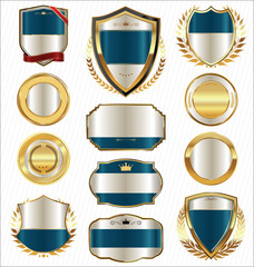 Golden shields laurel wreaths and badges collection