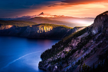 Mt Thielsen Covered in Clouds at Sunrise Oregon Landscape