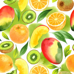 Seamless pattern with watercolor mango, orange and kiwi on white background