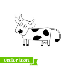 Cow icon vector 2