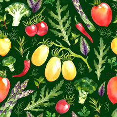 Seamless pattern with watercolor vegetables on green background