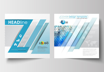 Business templates for square design brochure, magazine, flyer, booklet. Leaflet cover, flat layout, easy editable blank. Abstract triangles, blue and gray triangular background, polygonal vector.