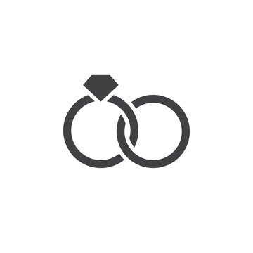 Marital status icon vector, wedding rings filled flat sign, solid pictogram isolated on white, logo illustration