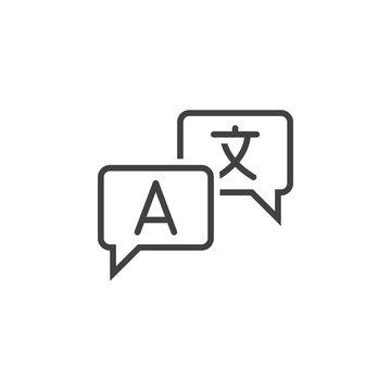 Language translation line icon, outline vector sign, linear pictogram isolated on white. logo illustration