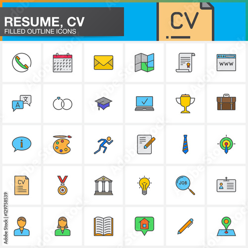 u0026quot line icons set for resume or cv  filled outline vector symbol collection  linear colorful