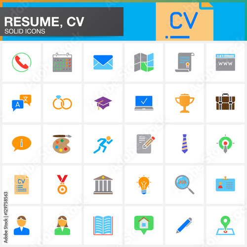 Quot Vector Icons Set For Resume Or Cv Modern Solid Symbol