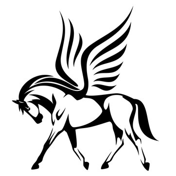 pegasus illustration - winged horse side view black and white vector design
