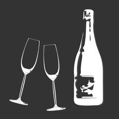 Sektgläser & Sektflasche