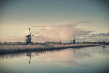 Vintage Landscape with Windmills