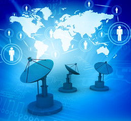 Global communications and internet. Social network, business network,  Abstract technology backgrounds