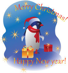 Penguin with gifts. Vector image. Design a Christmas card, banner, poster, invitations.