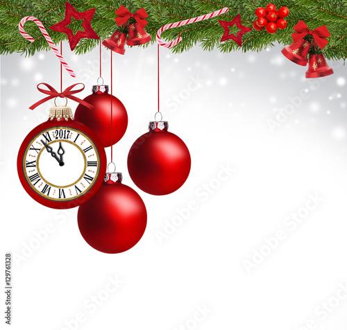 Weihnachtliche dekoration mit uhr stockfotos und for Weihnachtliche dekoration