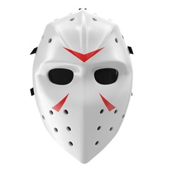 vintage hockey mask on white. Front view. 3D illustration