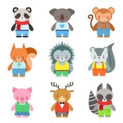 Toy Animals Dressed Like Kids Characters Set