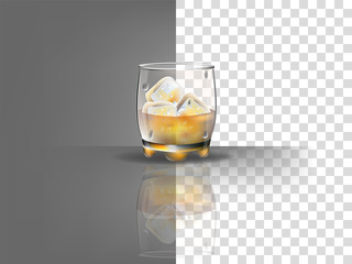 realistic beautiful whiskey glass with ice cubes and whiskey vector on transparent background