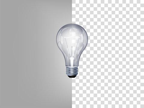 beautiful realistic illustration of light bulb on transparent background