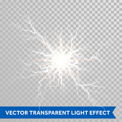 Light lightning flash of thunder storm on transparent background