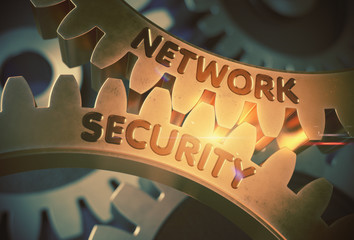 Network Security on Golden Gears. 3D Illustration.