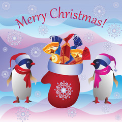 The penguins and the Christmas mitten. Vector image. Design a Christmas card, banner, poster, invitations.