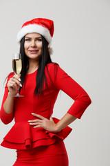 Festive woman in Santa hat