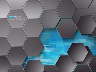 Hexagons and blue rectangles