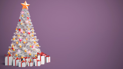 Beautifully decorated Christmas tree with presents. 3D Illustrat