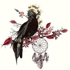 Beautiful bird holding arrow and dreamcatcher